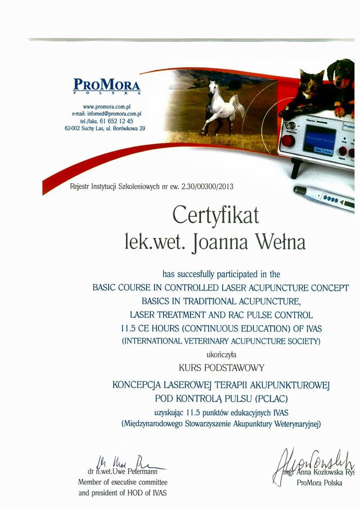 Certyfikat laseroterapia Joanna Wełna